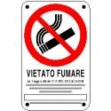Cartello vietato fumare con legge 125x175