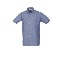 Camicia Oxford uomo da lavoro manica corta azzurra