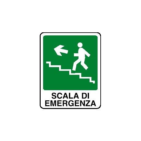 Cartello scala di emergenza verso alto sinistra 120x145