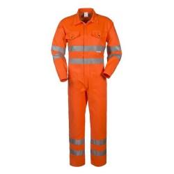 Tuta da lavoro arancio alta visibilità con cerniera cat. 2 con bande rifrangenti Lucentex