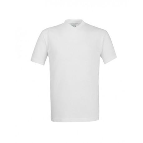 T-shirt da lavoro bianca Take Time scollo a V manica corta unisex