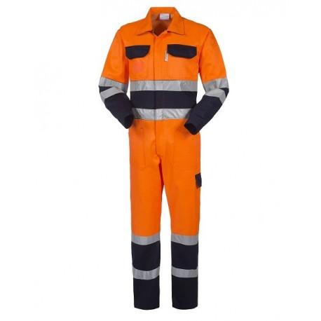 Tuta da lavoro uomo bicolore alta visibilità con bande rifrangenti- Lucentex