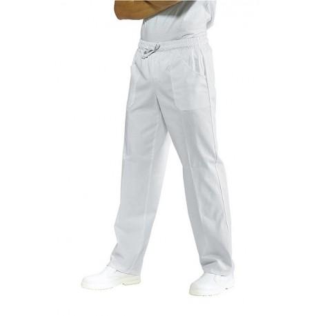 Pantalone da lavoro bianco con elastico 210 g/m2 per infermieri, ausiliari, pizzaioli- Isacco