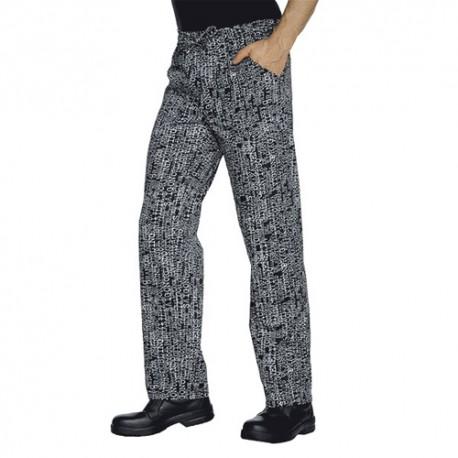 Pantalone da lavoro San Francisco con elastico in vita nero con stampe bianche per cuochi - Isacco