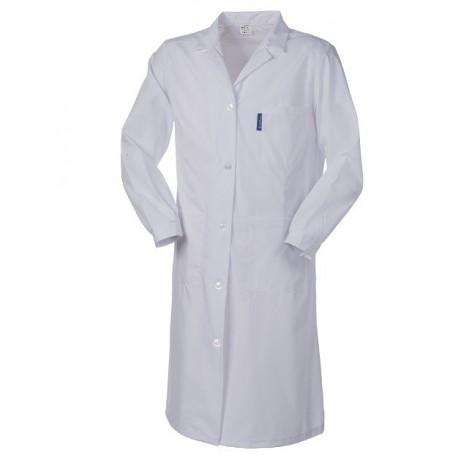 Camice da lavoro bianco donna con bottoni classici per medici, biologi, educatori- Poliserio