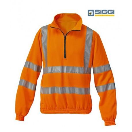 Felpa da lavoro alta visibilità mezza zip per operatori ecologici, asfaltisti- Siggi