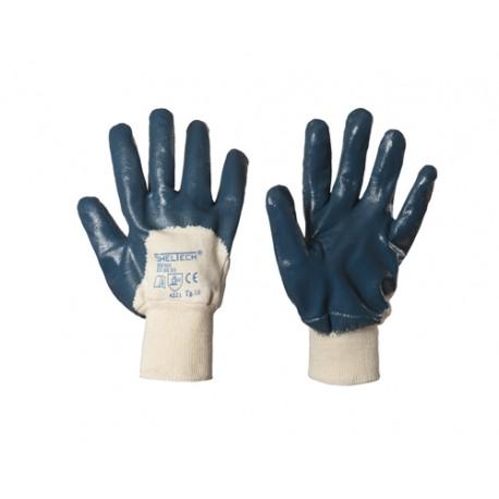 Guanti in nbr con dorso areato e polsi in maglia per rischio meccanico - SheltechConfezione da 12 paia
