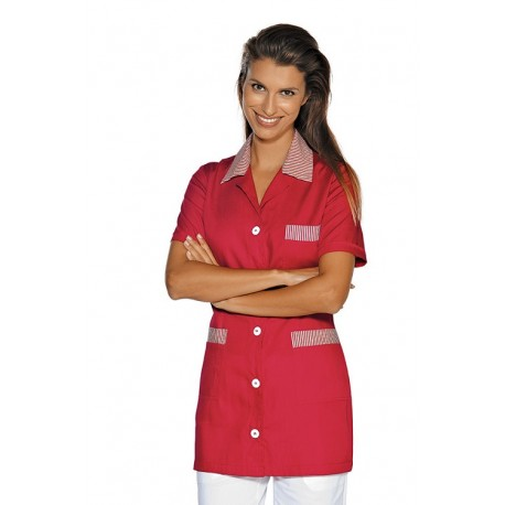 Casacca da lavoro Marbella maniche corte con bottoni e taschino rigato- Isacco