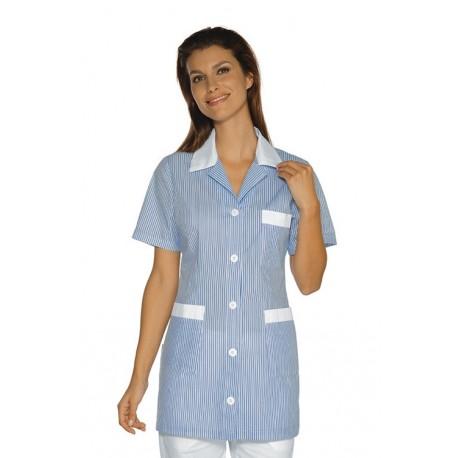 Casacca da lavoro Marbella maniche corte rigato con bottoni e taschino - Isacco