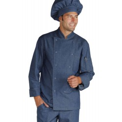 Giacca da cuoco maniche lunghe con bottoni a pressione in jeans - Isacco