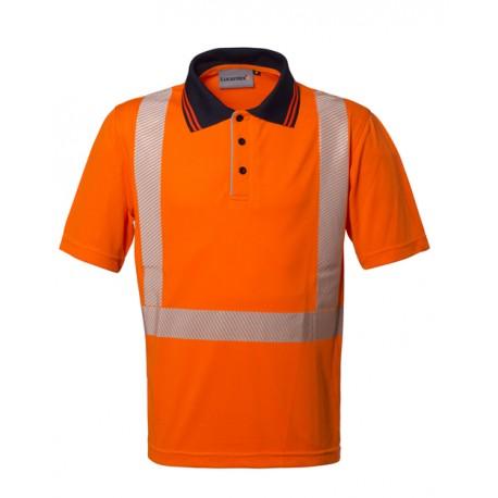 Polo da lavoro Seal alta visibilita' manica corta arancio/giallo con inserti rifrangenti, per operai, asfaltisti - Lucentex