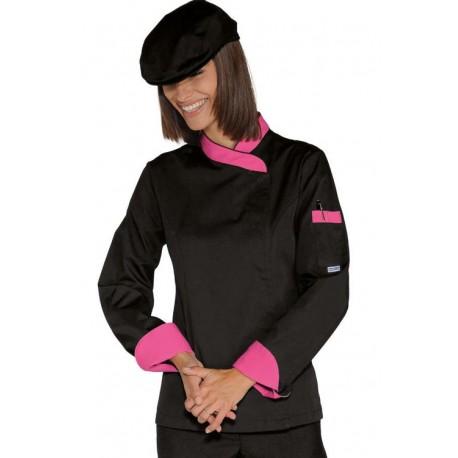 Giacca cuoco donna manica lunga con bottoni a pressione bicolore - Isacco
