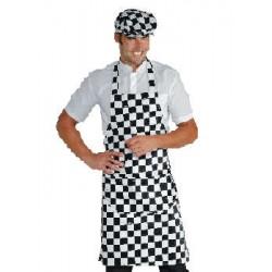 Grembiule da lavoro unisex con pettorina scacchi bianco nero per bar -  pizzerie - gelaterie - Isacco 6cb1ecc1bb6