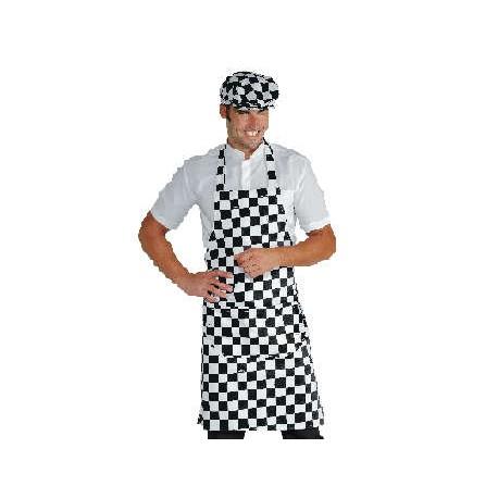 Grembiule da lavoro unisex con pettorina scacchi bianco/nero per bar - pizzerie - gelaterie - Isacco