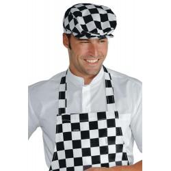 Cappello/Coppola unisex scacchi nero/bianco per bar - pizzerie - gelaterie - Isacco