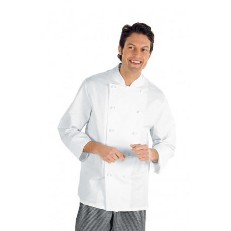 Giacca cuoco Livorno bianca manica lunga taglie forti 3xl-4xl-5xl - Isacco