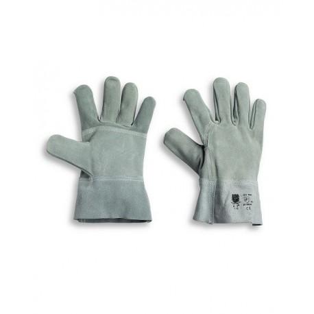 Guanto da lavoro in crosta rinforzato con manichetta di sicurezza 7 cm-Confezione da 10 paia