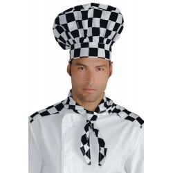 Cappello da cuoco 100% Cotone scacchi bianco/nero - Isacco