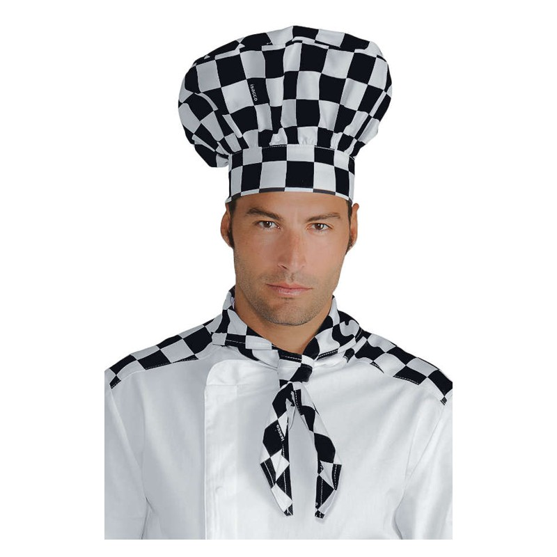 Cappello da cuoco 100% Cotone scacchi bianco nero - Isacco 54c6f318b69a