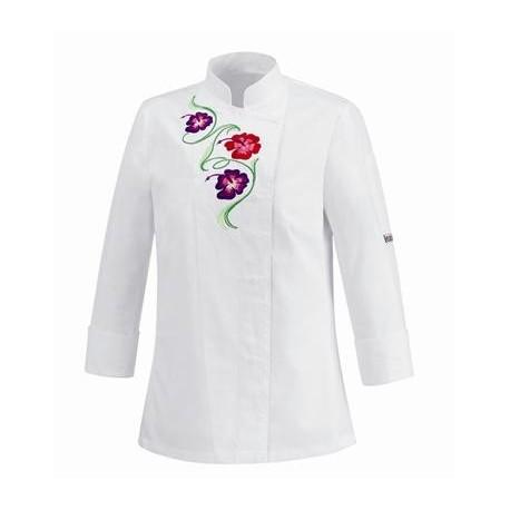 Giacca cuoco Donna Flowers odello slim bianca manica lunga con disegno Fiori - Egochef