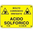 Cartello Acido Solforico molto corrosivo irritante 500x333mm