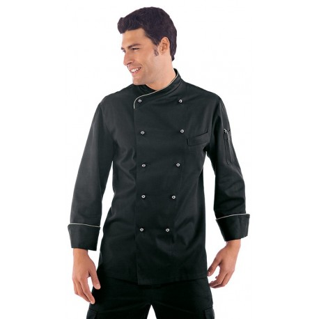 Giacca cuoco uomo Lima nera con bicolore argento manica lunga e bottoni a funghetto - Isacco