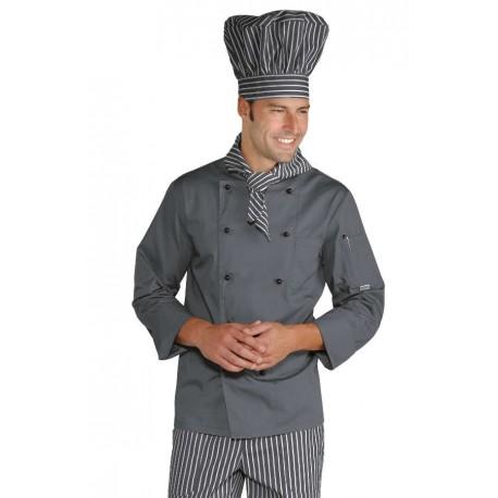 Giacca cuoco linea Londra a manica lunga grigia - Isacco