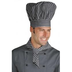 Cappello cuoco linea Londra regolabile gessato grigio - Isacco
