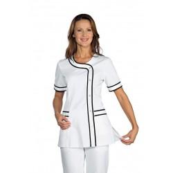 Casacca da lavoro donna Brasilia manica corta e bottoni a pressione bianco-bicolore - Isacco