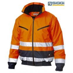 Bomber da Lavoro Alta Visibilità bicolore arancio/giallo con cappuccio E gilet in pile interno staccabile - Siggi