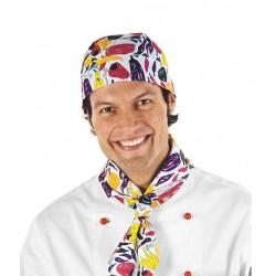 Bandana da lavoro colorata fantasia pepper per cuochi e pizzaioli - Isacco