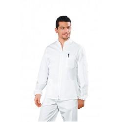 Casacca da lavoro unisex bianca Samarcanda con cerniera e manica lunga per dentisti/medici - Isacco