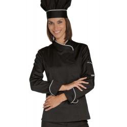 Giacca da cuoco donna con bottoni a pressione bicolore bianco/nero - Isacco