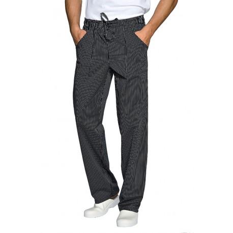 Pantalone unisex da lavoro con elastico in vita gessato nero per cuochi - chef - pasticceri - Isacco