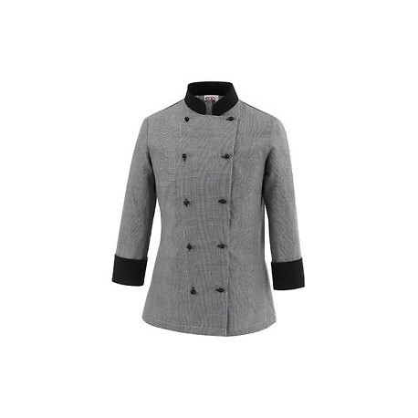 Giacca da cuoco donna Celine modello slim fit nero/grigio - Egochef