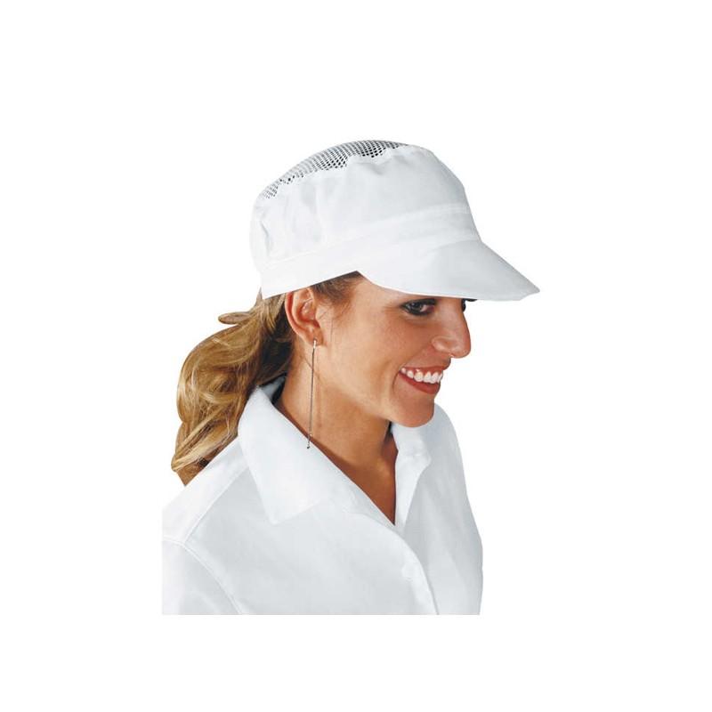 Cappello da lavoro unisex Charly con rete per panifici - caseifici -  pizzerie 100% cotone - Isacco d00a144c8a62