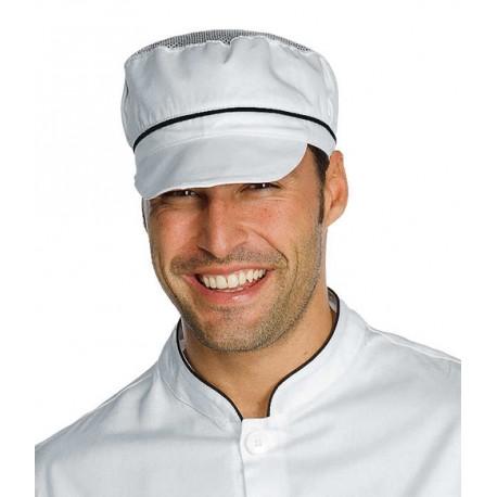Cappello da lavoro unisex Charly con rete e riporti colorati per panifici - pizzerie - caseifici - Isacco