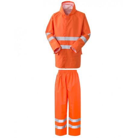 Completo da lavoro giacca e pantalone Crew antipioggia e alta visibilità giallo o arancio