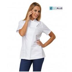 Casacca da lavoro donna Cherry a manica corta con cerniera bianca per infermiere, fisioterapiste, dentisti, estetiste - Siggi D