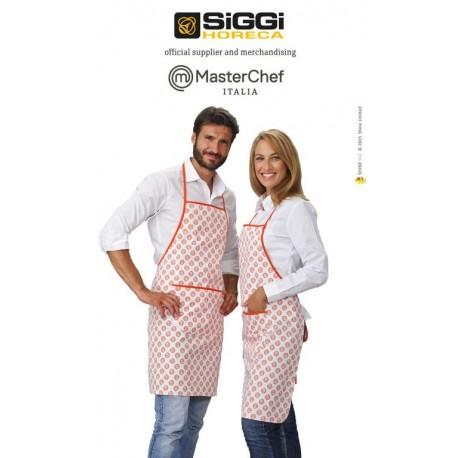 Grembiule da cucina/cuoco unisex bianco e arancio con pettorina e stampa loghi Masterchef (idea regalo) - Siggi
