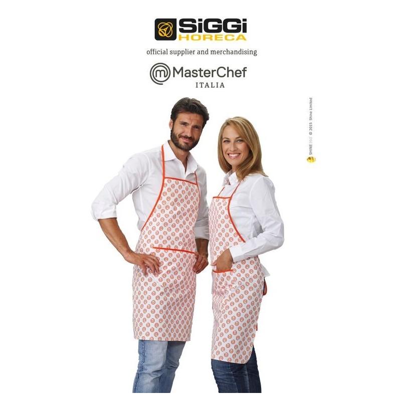 Grembiule Da Cucina Cuoco Unisex Bianco E Arancio Con Pettorina E