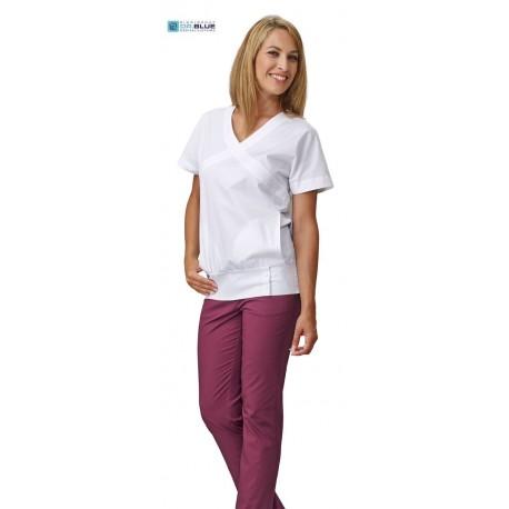 Casacca da lavoro donna Queen bianca a manica corta e scollo a V per infermiere, dentisti, fisioterapisti, estetiste - Siggi Dr
