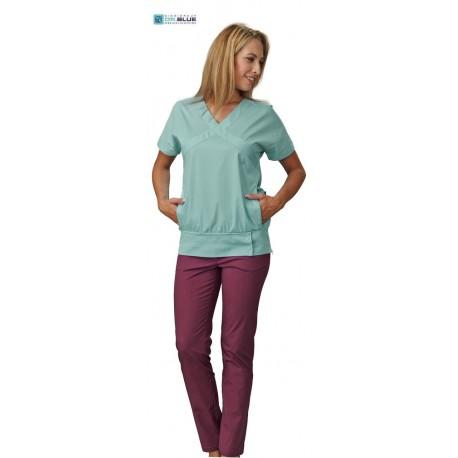 Casacca da lavoro donna Queen Sangria o Verde a manica corta e scollo a V per infermiere, dentisti, fisioterapisti, estetiste -