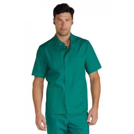 Casacca da lavoro uomo corfù in vari colori a manica corta e bottoni a pressione per medici, infermieri, parrucchieri - Isacco