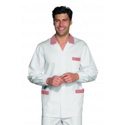 Casacca da lavoro uomo a manica lunga con polso elastico bianca con righe rosso per banconisti, salumieri, macellai - Isacco