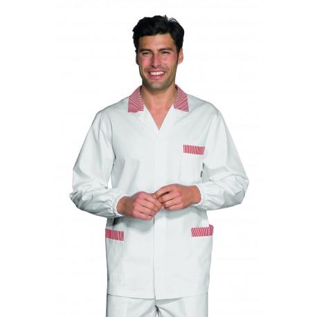 Casacca da lavoro uomo a manica lunga con polso elastico bianca con righe rosso o blu per banconisti, salumieri, macellai - Is