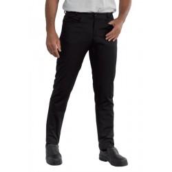 Pantalone da lavoro nero yale con vestibilita' slim per cuochi e camerieri - Isacco