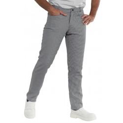 Pantalone da lavoro pie de poule con vestibilità slim per cuochi - Isacco
