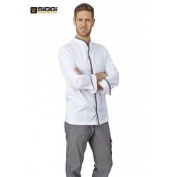 Giacca da cuoco unisex Victor bianca con profili colorati e tessuto elasticizzato , manica lunga e bottoni a pressione - Siggi