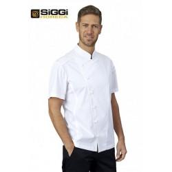 Giacca da cuoco bianca elasticizzata Nick con manica corta e bottoni a funghetto - Siggi Horeca